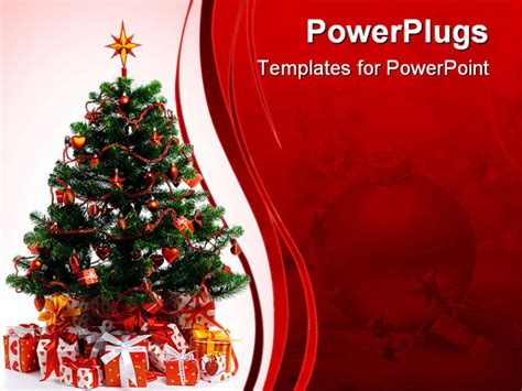 design powerpoint natal decorated christmas tree isolated on white background