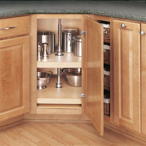 Kitchen Cabinet Lazy Susan Rev A Shelf 26 In H X 31 In W X 31 In D Wood 2 Shelf D Shape Lazy Susan Set 4wls272 31 52