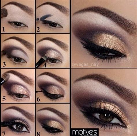 eyeshadow tutorial with gold purple and gold eye makeup tutorial pictures photos and