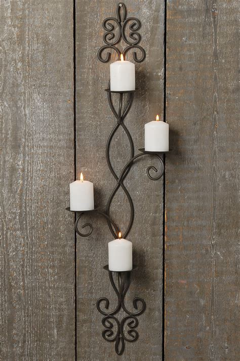 Grey Candlestick Holders by Wall Candlesticks 91cm Iron Grey Mounted Candle