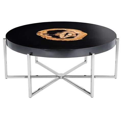 Nickel Table L Petrified Wood Coffee Table Black Gloss And Nickel Base For Sale At 1stdibs