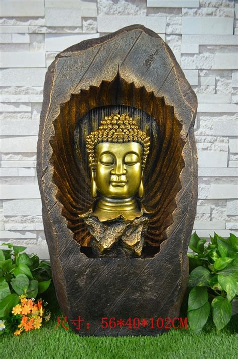 large rockery water fountain indoor buddha courtyard