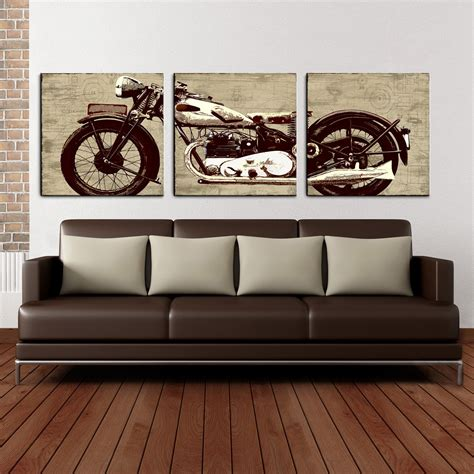 motorcycle home decor motorcycle 24 x 72 canvas art print triptych wall art at