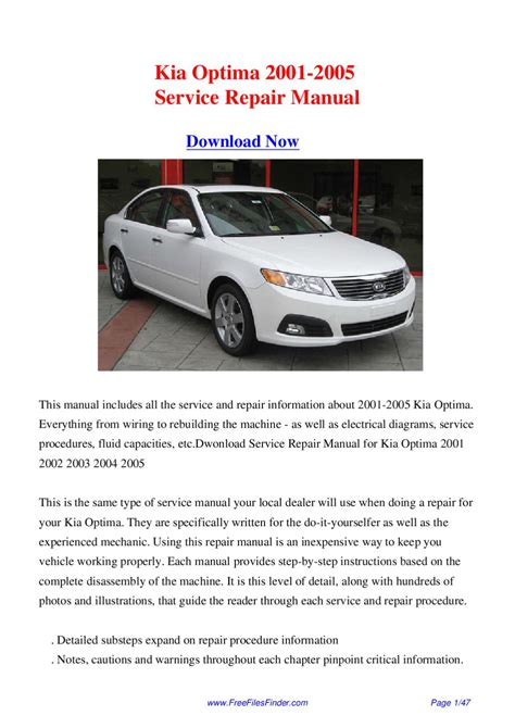 2005 Kia Repair Manual Kia Optima 2001 2005 Service Repair Manual By Hong Lii Issuu