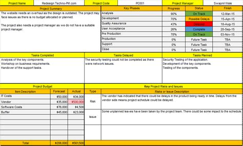 status report template excel project status report template excel free template one