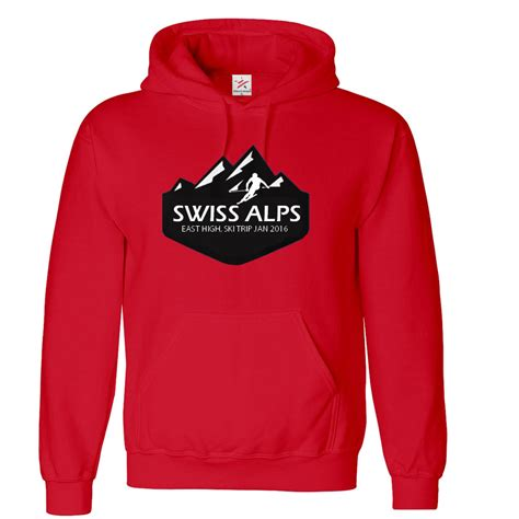 personalised alp mountain ski hoodie with custom name and