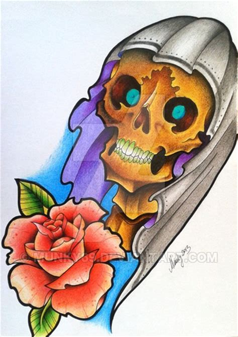 tattoo old school rose and skull oldschool skull and rose design by munky69 on deviantart