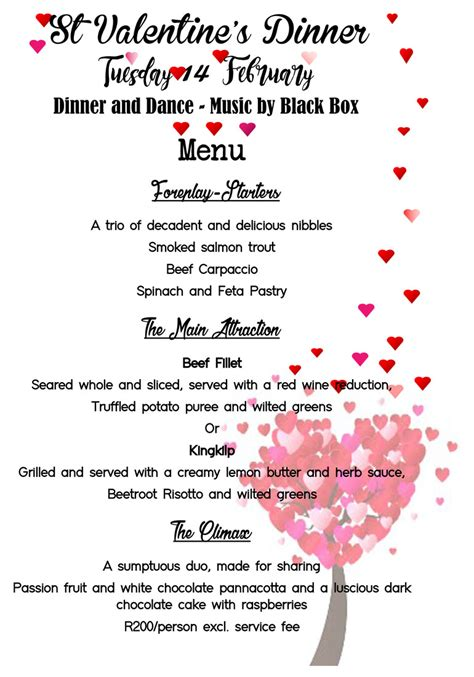 valentines day menu valentines day menu italian club of cape town