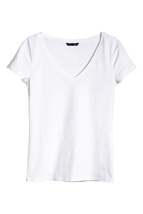 H M Jersey Comfortable v neck jersey top white sale h m us