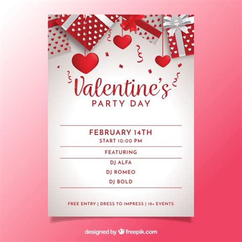valentines day flyer realistic s day flyer poster vector free