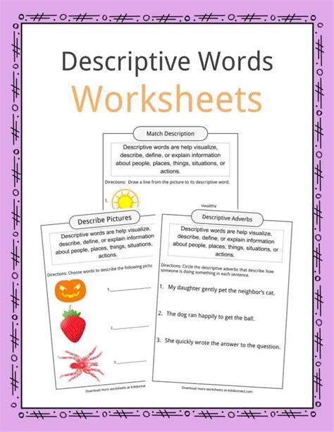 descriptive words exles definition worksheets for