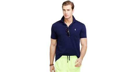 polo ralph performance polo shirt in blue for