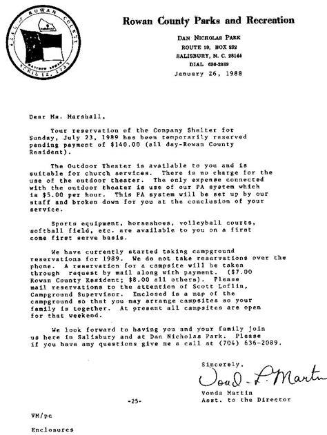 Reservation Reminder Letter Eller Chronicles Feb 1989 P4