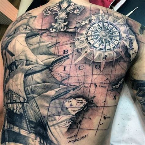 pirate ship treasure map tattoo for men kompass tattoo