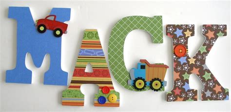 Custom Decorated Wooden Letters Construction Theme Decorated Wooden Letters For Nursery