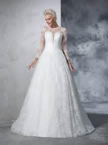 Robe De Mariée Marquise Manche Longue - robe de bal col ras du cou dentelle manches longueues