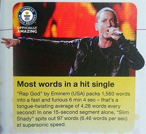 eminem quickest rap eminem s quot rap god quot joins guinness world records