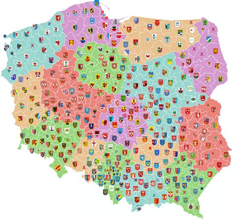 map of showing counties file map of poland showing coats of arms of counties png