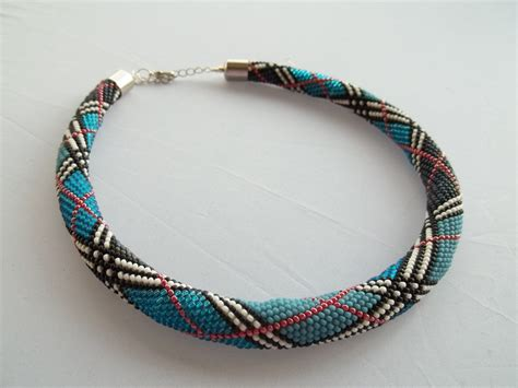 white necklace pattern bead crochet necklace with plaid pattern blue red white