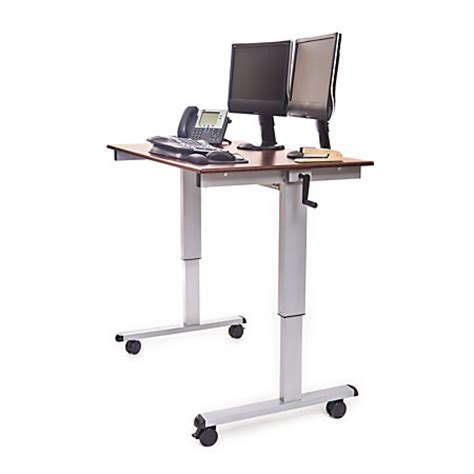 Luxor Crank 48 W Adjustable Stand Up Desk Dark Stand Up Desk Office Depot