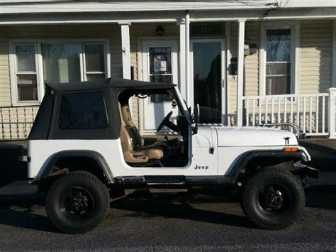 jeep soft top white jeep wrangler suv 1990 white for sale 2j4fy39t8lj546033