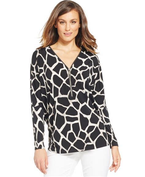 Alfani Blouse by Alfani Animal Print Half Zip Blouse In Black Lyst