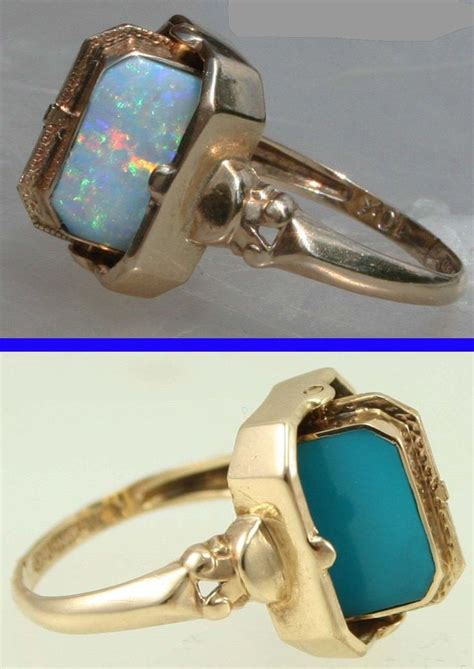 turquoise opal antique 1920 s reversible flip ring natural opal and