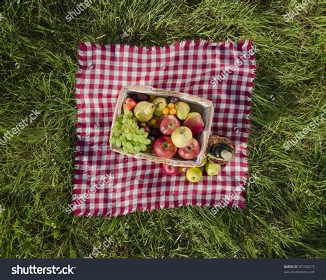 Picnic Top picnic at meadow top view stock photo 81140275