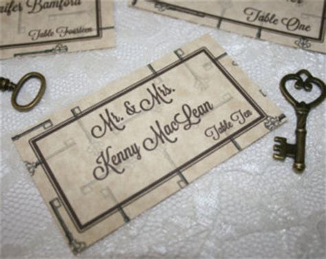 themes of lock and key vintage key theme bookmark place or escort card favors