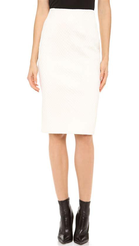 cushnie et ochs fishnet leather pencil skirt in white