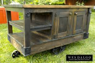 island carts:  wood modern rustic kitchen island cart with walnut stained top