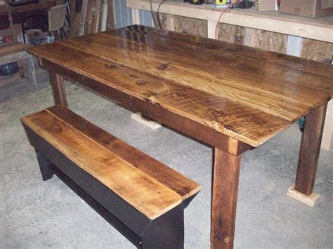 harvest table with bench pin by mallory donahue on barnboard pinterest