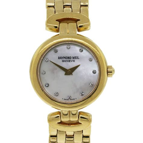 raymond weil 18k gold plated of pearl