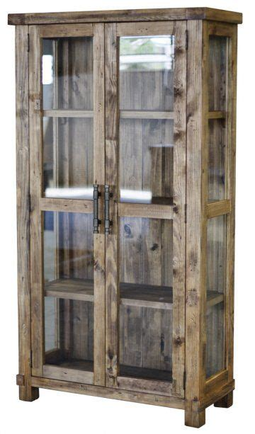 fancy glass display cabinet country reclaimed solid wood farmhouse glass display