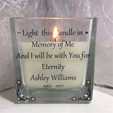 personalised memorial candle for loved one in memory