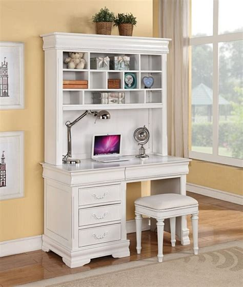 Classique Collection White Finish Wood Children S Desk White Desk And Hutch