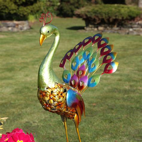 backyard ornaments large solar powered 8 led peacock figure novelty outdoor