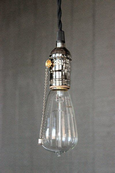 Pull Cord Light Fixture Industrial Bare Bulb Pendant Light Silver Pull Chain Socket Lighting With Vintage Antique Style