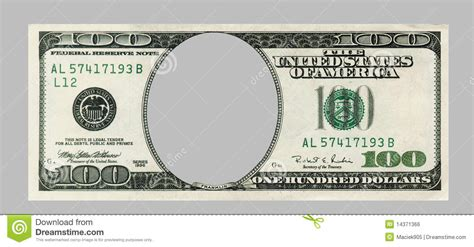blank hundred dollar bank note with clipping patch royalty