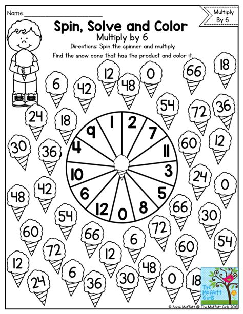 spin color spin solve and color practicing multiplication facts