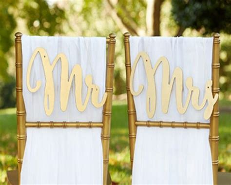Mr And Mrs Chair Signs by Mr And Mrs Sign Groom Signs Chair Signs Wedding Chair Sign Classic Gold Or Silver Wood