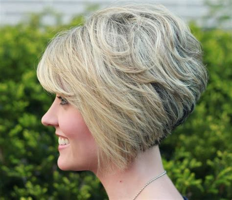 side view modified stacked hairstyle inverted wedge haircut pictures back view short