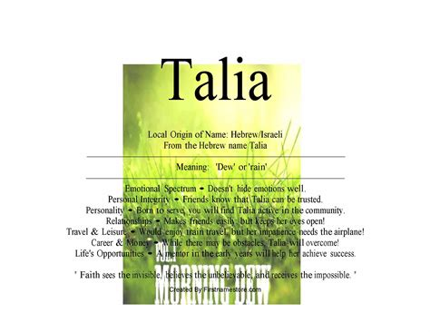 Meaning Of The Word Talia Name Means Dew Name Tells About