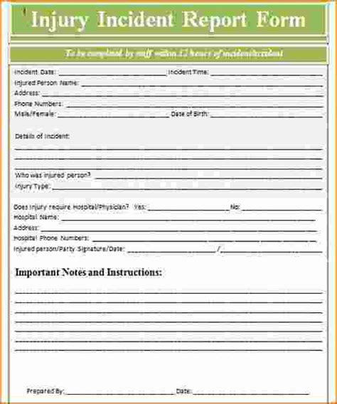 incident report form template basic incident report template