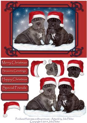 santa pups christmas decoupage card topper cup craftsuprint