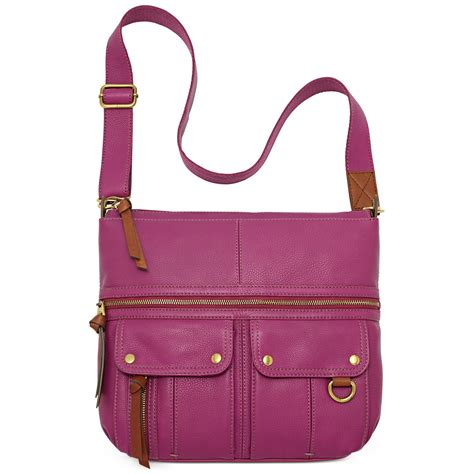 Fossil Crossbody Model 705b fossil leather top zip crossbody in purple lyst