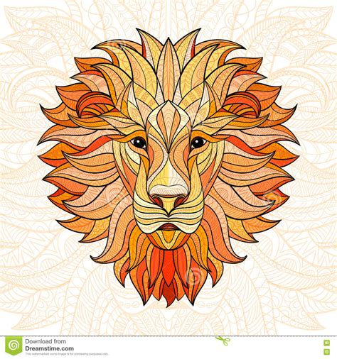 detailed colored lion in aztec style stock vector