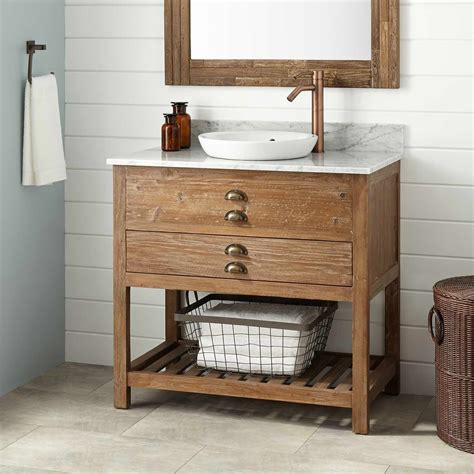 Bathroom Vanity Wood 36 Quot Benoist Reclaimed Wood Vanity For Semi Recessed Sink Pine Bathroom Vanities Bathroom