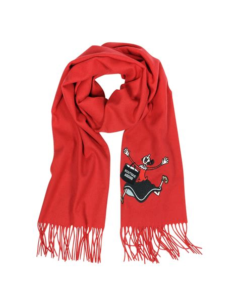 moschino boutique olive embroidery wool scarf in lyst