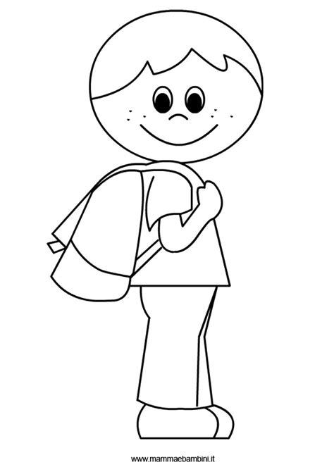 disegni bambini bambino con zaino da colorare mamma e bambini